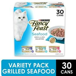 ♨️30 Pack Fancy Feast Gravy Wet Cat Variety Pack Seafood Grilled Collection♨️