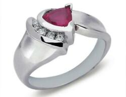 Estate .95ct Diamond And Aaa Ruby 14k White Gold Trillion And Round Channel Fun Ring