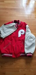 Philadelphia Phillies Mitchell Andness Mlb 1972 Authentic Wool Leather Jacket 3xl