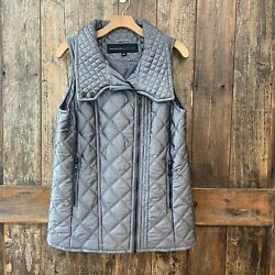 Marc New York Andrew Marc S Gray Puffer Long Side Zip Quilted Vest Euc