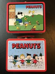 Lot Of 2 Vintage Peanuts Snoopy Lunch Boxes Tin Joe Cool And Skating-excellent