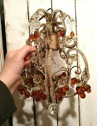 Antique Italian Cage Chandelier 💎glass Fruit - Grape Bunches 💎 Macaroni Beads
