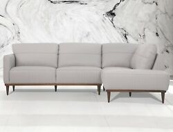 Acme Furniture Tampa Pearl Gray Leather Sofa Sectional Living Room