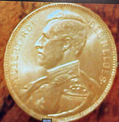 1914 Belgium 20 Francs Gold Coin King Abert I French Text Position A