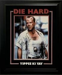 Bruce Willis Signed 11x14 Photo Custom Frame Die Hard Authentic Autograph Bas