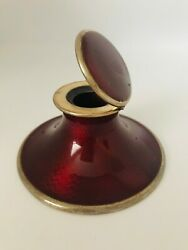 Antique Inkwell Desk Real Red Hot Enamel Sterling Silver Collectibles Excellent