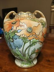 Antique Nippon Noritake Beaded And Hand Painted Poppy Vase - Gold Gilded...