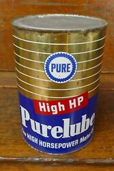 Vintage Purelube High Hp Pure Oil Company 5 Five Quart Metal Motor Oil Can Empty