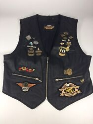 Women's Harley Davidson Black Leather Vest With Pins And Patches Large Trike Zip