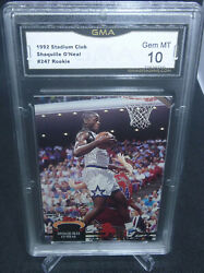1992 Stadium Club Shaquille Oneal Rookie Card 247 Gma Graded Gem Mint 10 Nice