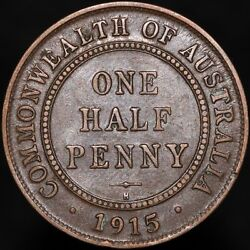 1915 H | Australia George V One Half Penny And039key Dateand039 | Bronze | Km Coins