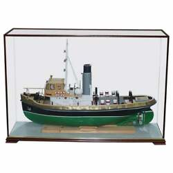 Large Model Ship Of The Anteo Tugboat In Mahogany Frame Glass Exhibition Case