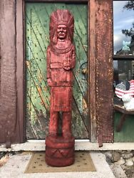 John Gallagher Carved Wooden Cigar Store Indian Statue 6 Ft.tall Stained