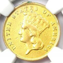 1867 Three Dollar Indian Gold Coin 3 - Certified Ngc Au Details - Rare Date