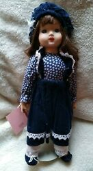 Schmid Doll House 17 Porcelain Doll Navy Jumper/hat On Stand Musical