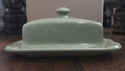 Longaberger Woven Traditions Sage Green Pottery Butter Dish W/knob Lid