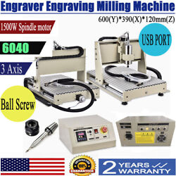 Usb 3axis Cnc6040 Router Engraver Carving 3 Rotating Axis Wood Cut Machine 1.5kw