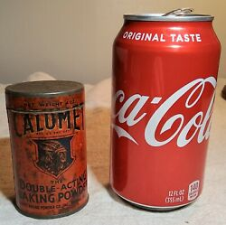Vintage 4 Oz. Size Calumet Baking Powder Tin With Paper Label And Embossed Lid
