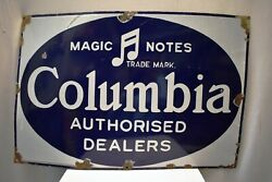 Vintage Columbia Gramophone Records Signe Board Porcelaine Andeacutemail Annonce 2