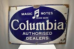 Vintage Columbia Gramophone Records Signe Board Porcelaine Andeacutemail Annonce 1