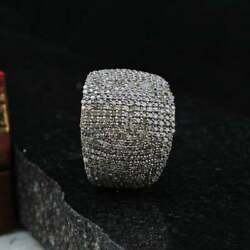 925 Sterling Silver Sigar Band Pave Diamond Handmade Wedding Band Ring Jewelry