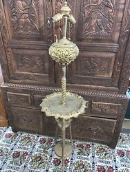Bradley And Hubbard Ornate Brass Floor/ Piano Lamp Electrified 1876 Adjustable