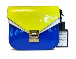 Mcm Women's Patricia Monogrammed Patent Leather Satchel - Neon Yellow And Blue