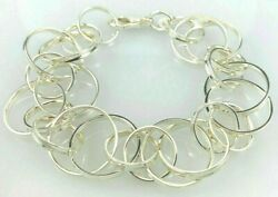 And Co. Sterling Silver 1837 Interlocking Circles Charm Link Bracelet