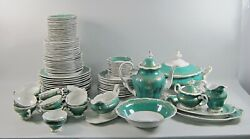 97pc Lot Weimer China Katharina 6131-green Dinnerware And Serving Pieces Svc/12