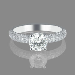 1 1/2 Ct Womenand039s Diamond Engagement Ring Round Cut H/si2 14k White Gold