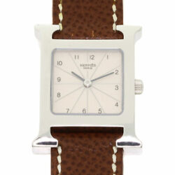 Free Shipping Pre-owned Hermes Hh1.210 H Watch Ivory Dial Quartz Watch