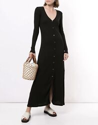 James Perse Long Sleeve Ribbed Botton Cardigan Dress In Black Size 1 Wnl6574