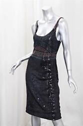 Calvin Klein Collection Womens Black Beaded Scoopneck Sequin Cocktail Dress Us 6