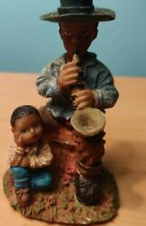 Ks Collection Figurines African American Man Playing Sax With Child 3/1/4 Tall