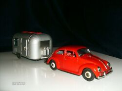 Vintage Tin Bandai Friction Vw And Air Stream Camper Trailer Set 100 Complete A+