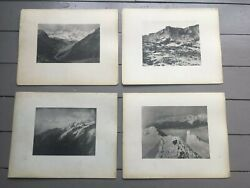 Vintage C1920and039s Lot Of 4 Photographic Plates European Mountain Images 15x12