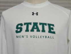 Under Armour Loose Heatgear Michigan State Volleyball Ls White T-shirt Lrg Used