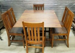 Vintage Drop Leaf Dining Set-table, 2 Leaves, 6 Chairs Antique 1929 Badger Chair