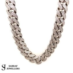 Cz Cuban Curb Chain 925 Solid Sterling Silver Heavy Necklace 11mm 24 148gr New