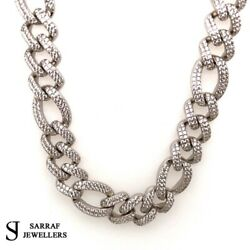 Cz Figaro Curb Chain 925 Solid Sterling Silver Heavy Necklace 12mm 24 146gr New
