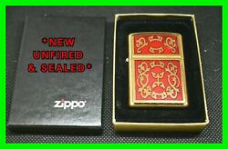 Unfired Imperial Filigree Red Enamel And Brass Zippo Lighter Excellent Condition