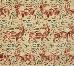 K24b Clarence House Tibet Scall Scale Fabric Cut Velvet Epingle Small Scale Red