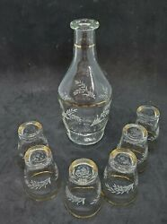 Vintage Italian Etched And Gold Glass Pitcher 6 Shot Glasses Ornate W/ Stopper