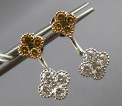 1.21ct White And Fancy Yellow Diamond 14k White And Rose Gold 4 Leaf Clover Earrings