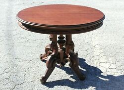 Antique Victorian Oval Wood Carved Trim Parlor Table Early 20th Century