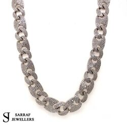 Cz Anchor Curb Chain 925 Solid Sterling Silver Heavy Necklace 12mm 24 153gr New