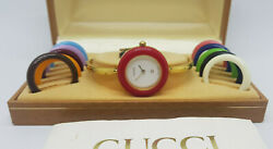 Vintage 1100l Gold Plated Changeable Bezel Quartz Ladies Watch Box And Book
