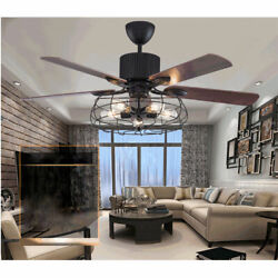 New 52 Rustic Edison Industrial Ceiling Fan Lamp W/ Cage Light + Remote Control