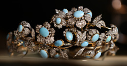 Vintage Reproduction Victorian Art Rose Cut Diamond And Turquoise Tiara,sterlin