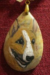Bull Terrier colored hand painted on teardrop pendant bead necklace